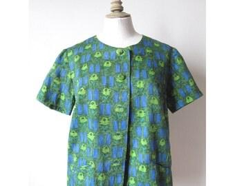 1960's  Blue green shirt short sleeves cotton printed