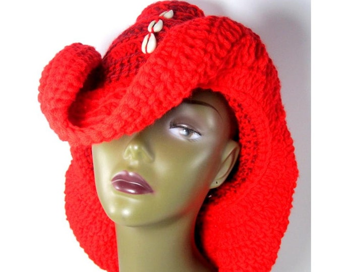 Cowboy Hat. Cowry Shell Hat. Loc Hat. Dreadlock Hat. Crochet Hat.  Ta Ankh.