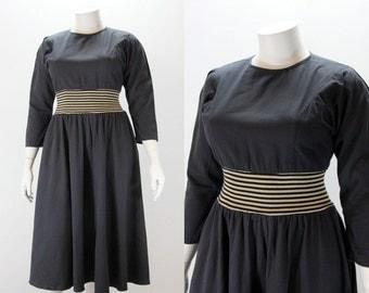 XXL Dress - 1980s Black Day Dress