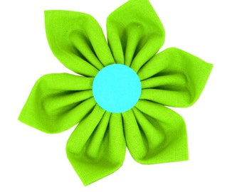 Lime Green Dog Flower for Collar/ Lime and Aqua Collar Flower: Geo Diamond