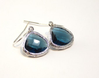 Dark Blue Glass Earrings in Sterling Silver or Gold Filled. Wedding, Bridesmaids, Gift for her.