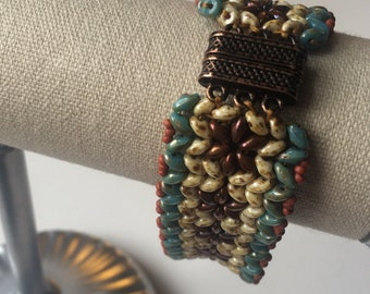 Turquoise and Terra Cotta Flowers SuperDuo Beaded Bracelet OOAK Natural Earth Tones