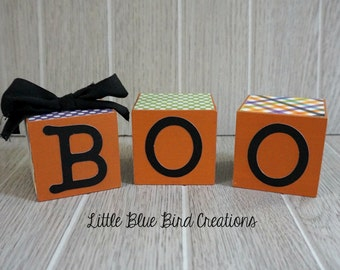 sale - ready to ship -Boo wood blocks - halloween decor - happy halloween - wood blocks - stacked wood blocks - cube - fall decor