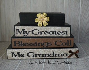 Our Greatest Blessings Call Us Grandma and Grandpa - handcrafted wooden block set - grandparents gift - home decor - christmas gift