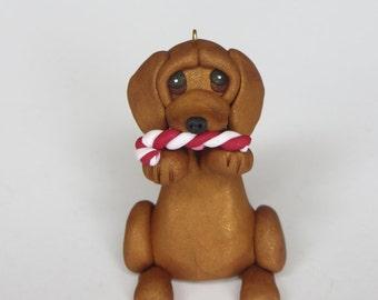 Dachshund Dog Christmas Ornament Polymer Clay Figurine