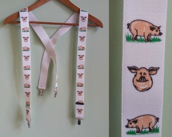 Vintage Here Piggy Piggy Suspenders - White Suspenders / Braces - Metal Grib Suspenders