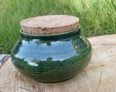 Green Ceramic Jar With Cork Led, Pottery Jar, Canister, Jar, Housewarming gift, Tea Jar, Coffee Jar, Storage Jar, Storage container