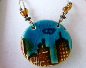 Ceramic Pendant, Ceramic Necklace, Ceramic Hendmade  Jewelry, OOAK