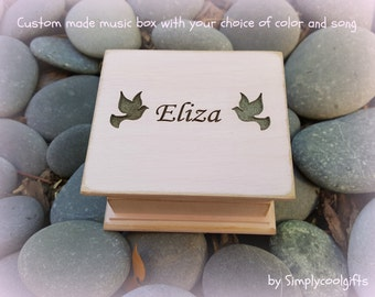 music box, wooden music box, custom made music box, doves, baptism gift, dove music box, personalized music box, musical box, simplycoolgift