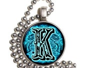 "Letter ""K"" Art Pendant, Alphabet Resin Pendant, Vintage Initial  Photo, Silver Nickel Coin Charm Necklace"