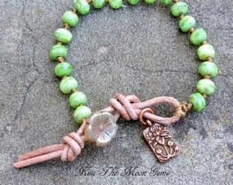 Hand Knotted Czech Glass Bracele - mantis green