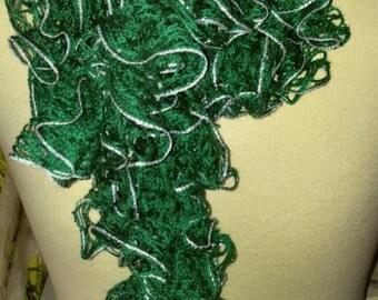 Green/Silver Ruffle Scarf