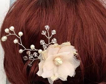 Flower Hair comb , Blush flower hair accessories , Bridesmaid hair accessories , wedding
