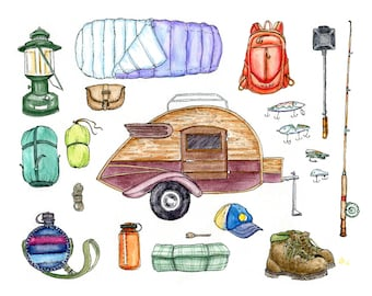 "Co Camping- Pen and Ink Illustration Watercolor Painting Print- 8.5""x11"""