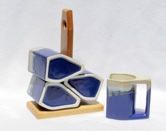 5 Piece Stacking coffee Mugs Set - Signed Handmade Cobalt Blue Studio Pottery On Portable Wooden Stand