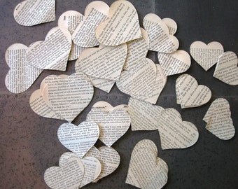 Vintage Book Paper Hearts- 150 in 3 sizes; table scatter or large confetti for Wedding, Showers, Scrapbooks, Art Journals,