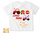 Little sister shirt truck Tshirt - Personalized Little brother Shirt or Bodysuit - 053_BB_2C_truck