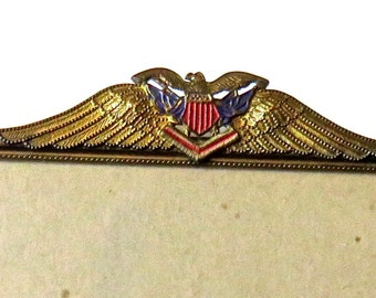 American Military Eagle Picture Frame w/ Shield Antique Brass Metal 8x10