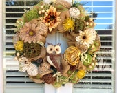 Large Owl Burlap and Mesh Wreath