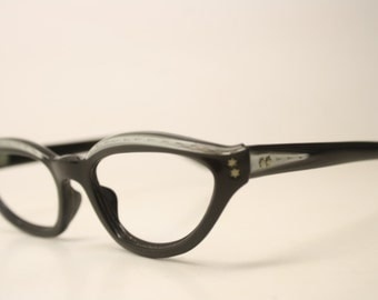 Black Gray Cat Eyeglasses Unique vintage Eyewear Retro Glasses Catseye glasses vintage frames