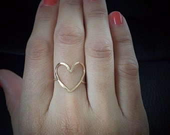 Heart Ring, Open Heart Ring, Gold Heart Ring, Heart Shaped Engagement Ring, Rose Gold Heart Ring, Silver Heart Ring, Heart Shaped Rings