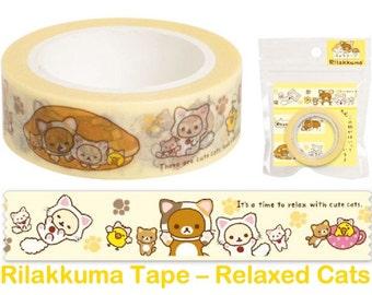 """Rilakkuma Washi Tape - Relaxed Cats - """"Motto Nonbiri Neko"""" theme"""