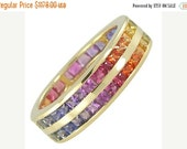 Valentines Day Sale Multicolor Rainbow Sapphire Double Row Eternity Ring 14K Yellow Gold (8ct tw) : sku 387-14k-yg