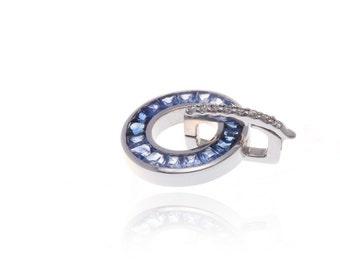 Multicolor Blue Sapphire & Diamond Circle Pendant 18K Gold (1.65ct tw) SKU: 8903