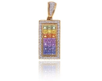 Multicolor Rainbow Sapphire & Diamond Rectangle Pendant 18K Gold (3.68ct tw) SKU: 8801