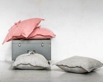 Cushion Cover Pure Linen Natural linen Salmon or Grey color  SHIPPING WORLDWIDE  100% linen home decor Pillow case with ribbon Summer