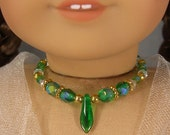 Reserved for Penny: GREEN NECKLACE for American Girl Dolls Glass Beads with gold spacers