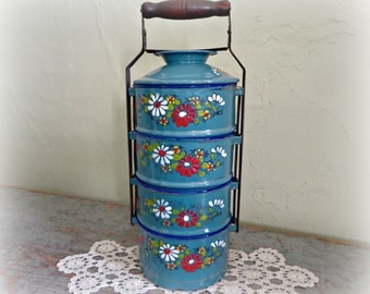 antique enamelware tiffin lunch pail miner's lunch box / blue floral / european scandinavian