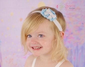 headband, light blue shabby flower headband