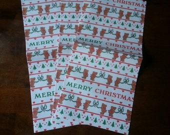 Three sheets vintage Christmas wrapping paper, teddy bears, Merry Christmas
