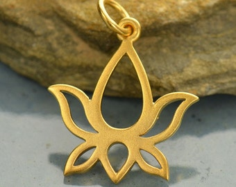 Satin 24K Gold Plated Sterling Silver Lotus Blossom Charm