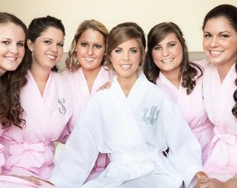 Bridesmaid Robes Set of 7 Waffle Robes for Bridesmaid Gifts in 10 Colors