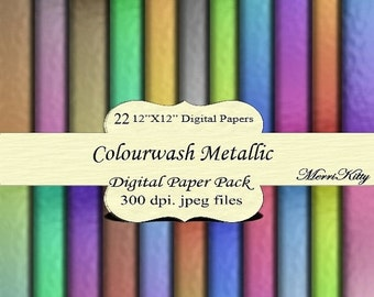 """ON SALE 65% OFF Instant Download - Digital Scrapbook Paper Pack - Colourwash Metallic - Mk45 - 22 12""""x12"""" Digital Papers - Collage Sheets -"""