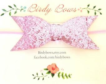 Pink Glitter Baby Bow Headband, Baby Headbands, Infant Headbands, Baby Girl Headbands, Infant Bow, Baby Bow, Girl Bow,Girl Headbands