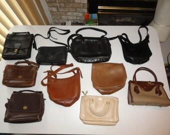 Lot Of 9 Vintage Leather Handbags Dooney & Bourke, Bonnie Cashin, 7 COACH Bags (9870, 0049-104, 2-9950, 033-9221, 5130, 1 New York City Bag)