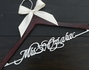Personalized Rustic Wedding Hanger, Bride Bridesmaid Wood Name Hanger, Custom Wedding Bridal Dress Hanger,Bridal Shower Gift LL006