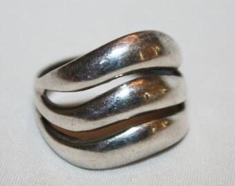 Valentines Sales Vintage Ring, Sterling Modernist Ring, Vintage Jewelry, 1960s Jewelry