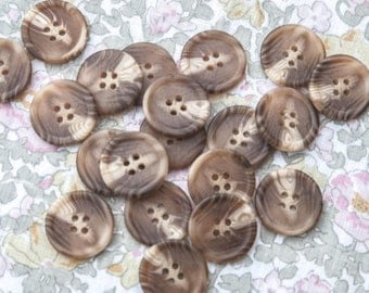 """20 Vintage 1"""" Plastic 4 Hole Buttons. Browns, Beige, Off White, Creme. High Quality Sew Through Buttons. Coat, Jacket Buttons. Item 3860P"""