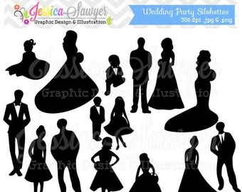 80% OFF - INSTANT DOWNLOAD, wedding party clipart, silhouette clipart,  for greeting cards, announcements, scrapbooking