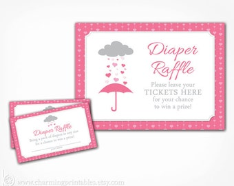 Baby Shower Diaper Raffle Printable Ticket Cards Sign - Instant Download - Pink and Grey Gray Rain April Showers Umbrella