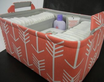 """Ex Large Diaper Caddy-14""""x 10""""x 7""""(CHOOSE Basket & Lining COLOR)Two Dividers-Baby Gift-Fabric Storage Organizer-""""Coral Arrow"""""""
