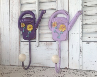 Watering Can Wall Hooks - French Country Wall Hooks - Set of 2  Purple Casted Metal - Jewelry Hook