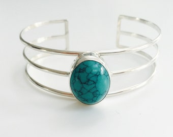 Turquoise Bracelet Sterling Silver Turquoise Bangle Adjustable Silver Turquoise Stone Bracelet