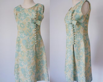 Vtg 60s Sleeveless Teal & Tan BROCADE  Dress with BOW and Buttons, Medium to Large