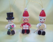Vintage Wooden Ornament Lot of 3 Wooden Santa, Wooden Snowman, Elf circa 1970s