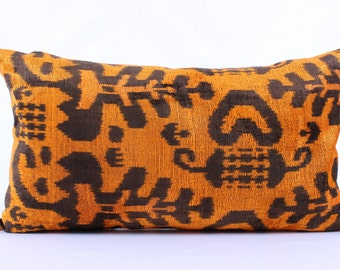 Ikat, Velvet, Pillow Cover, Uzbek, Soft, Ikat, Orange, Black, Pillow, Velvet Pillow, Decorative Throw Pillow Cover, Accent Velvet,